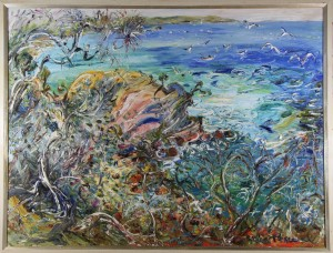 "Celia Perceval "" Seagulls above the cliffs at Twofold bay """