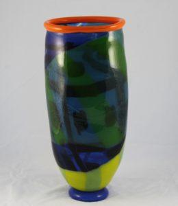 "Deborah D Halpern ""Leaves, orange lip, blue base, dichroic glass"""