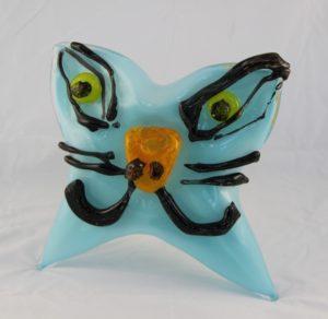 "Deborah D Halpern "" Blue creature with yellow spiral"""